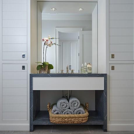 a nice bathroom inside of a beautiful glen lake mansion